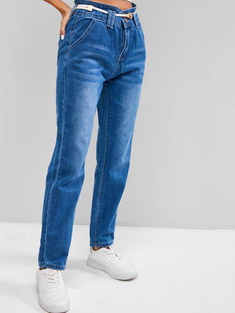 womens Two Buttoned High Waisted Tapered Jeans - BLUEBERRY BLUE M Mobile