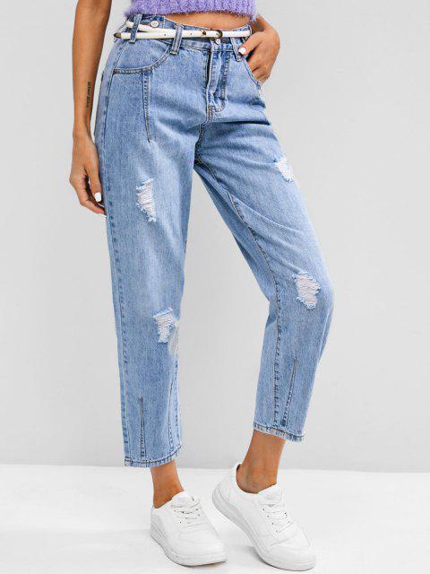 Jeans Ajustados Cintura Alta - Azul S Mobile