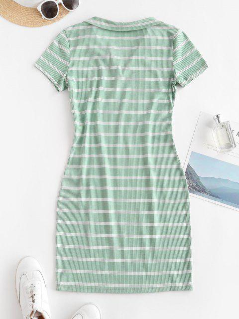 latest Casual Ribbed Stripes Bodycon Dress - GREEN S Mobile