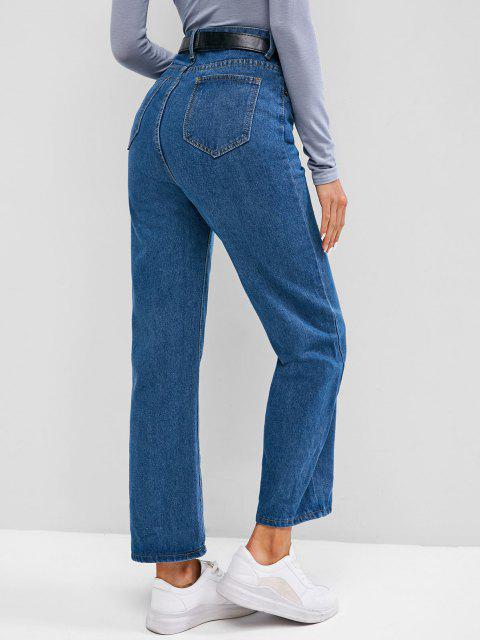 lady Plain High Waisted Wide Leg Jeans - BLUEBERRY BLUE L Mobile