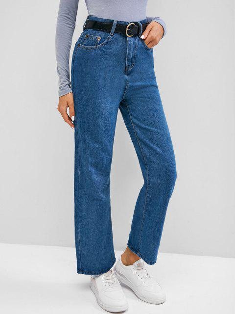 new Plain High Waisted Wide Leg Jeans - BLUEBERRY BLUE XL Mobile