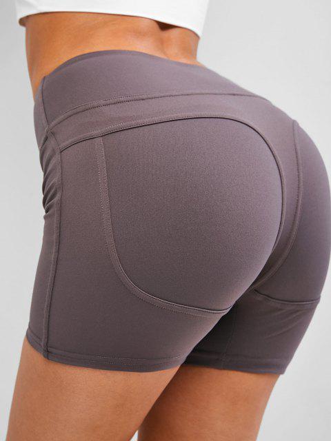 ladies Wide Waistband Topstitch Peach Buttock Biker Shorts - GRAY XL Mobile