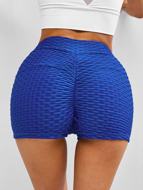 women's Textured Overlap Waist Ruched Bum Gym Shorts - BLUE L Mobile