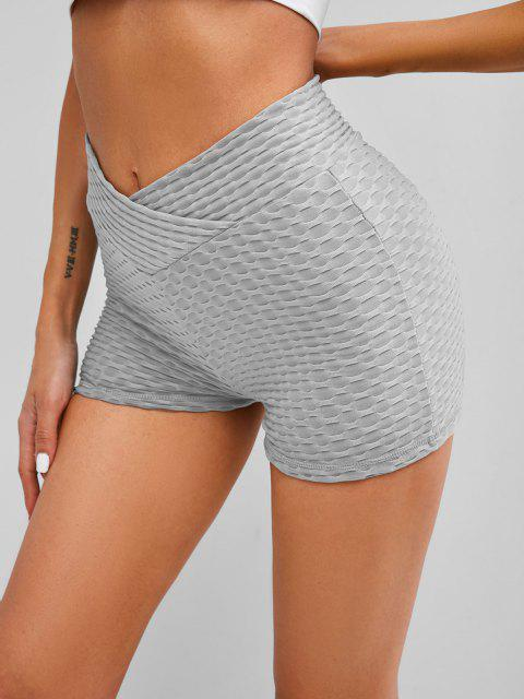 trendy Textured Overlap Waist Ruched Bum Gym Shorts - GRAY 2XL Mobile