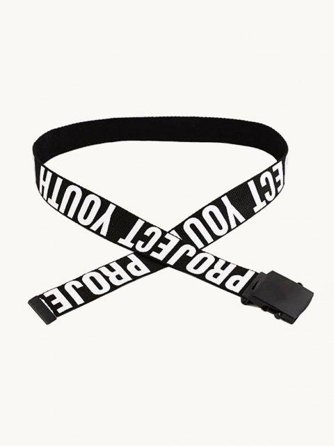 new Casual Letter Pattern Canvas Belt - BLACK  Mobile