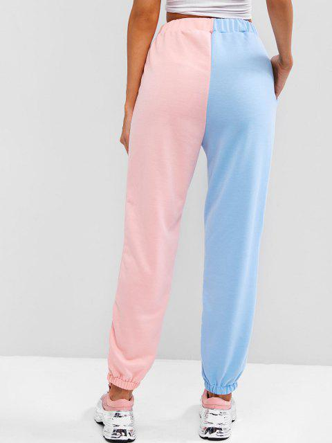 affordable High Waisted Contrast Jogger Sweatpants - LIGHT BLUE L Mobile