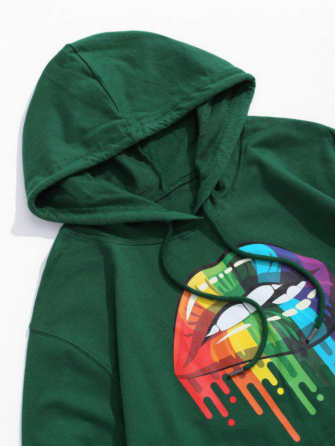 best Paint Splatter Lip Graphic Pouch Pocket Drawstring Hoodie - DEEP GREEN XL Mobile
