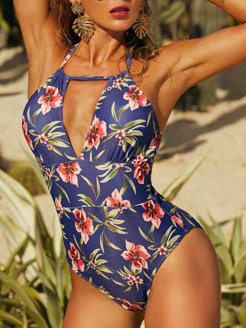 unique ZAFUL Halter Floral Full Coverage One-piece Swimsuit - DEEP BLUE S Mobile
