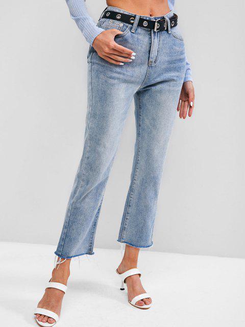 ladies Light Wash Frayed Hem Stovepipe Jeans - LIGHT BLUE M Mobile
