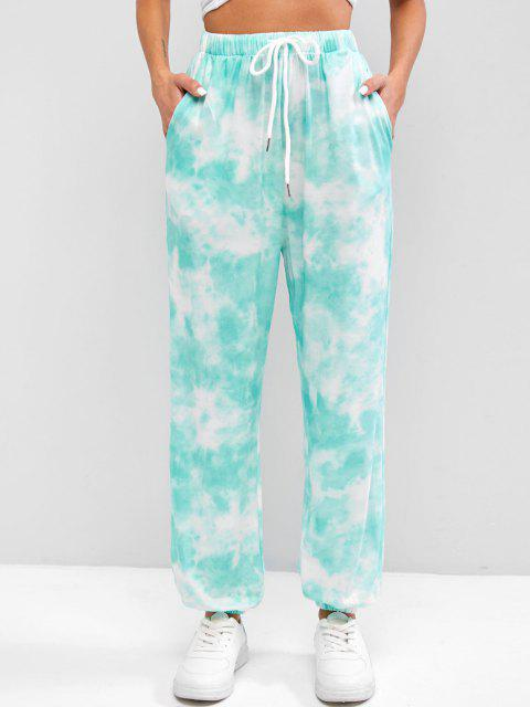 outfits Tie Dye Drawstring Pocket Jogger Pants - LIGHT GREEN S Mobile