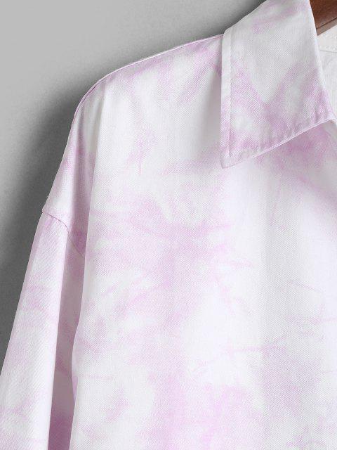 Camisa de Manga Larga con Parche y Bolsillo de Tie-dye - Rosado 2XL Mobile