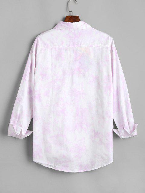 Camisa de Manga Larga con Parche y Bolsillo de Tie-dye - Rosado 4XL Mobile