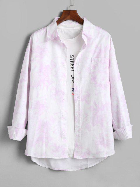 Tie Dye Print Pocket Patch Long Sleeve Shirt - زهري XL Mobile