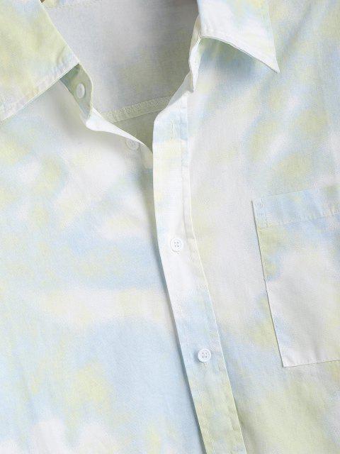 Camisa de Manga Larga con Parche y Bolsillo de Tie-dye - Verde 4XL Mobile