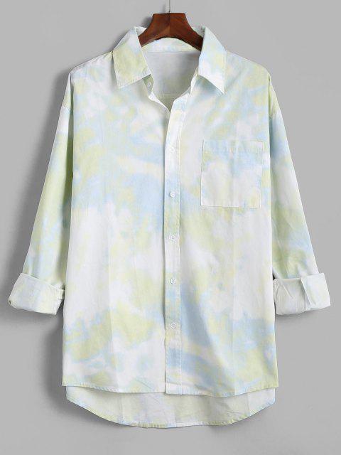 Camisa de Manga Larga con Parche y Bolsillo de Tie-dye - Verde 3XL Mobile