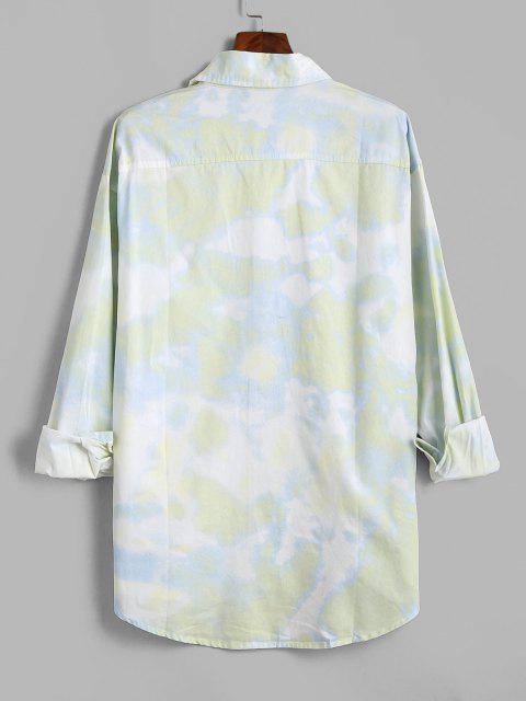 Camisa de Manga Larga con Parche y Bolsillo de Tie-dye - Verde 2XL Mobile