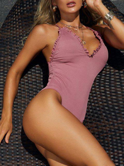 women's ZAFUL Frilled Trim Ribbed Lace-up One-piece Swimsuit - LIGHT PINK S Mobile