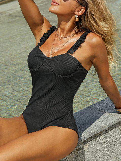 buy ZAFUL Underwire Lettuce Trim Ribbed One-piece Swimsuit - BLACK S Mobile