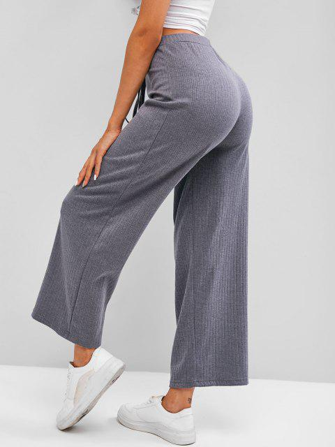 trendy Ribbed Knit Wide Leg Pants - GRAY L Mobile
