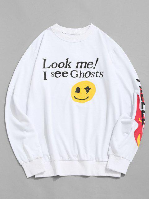 Buchstabe Grafik Druck Lustiges Sweatshirt - Weiß XL Mobile