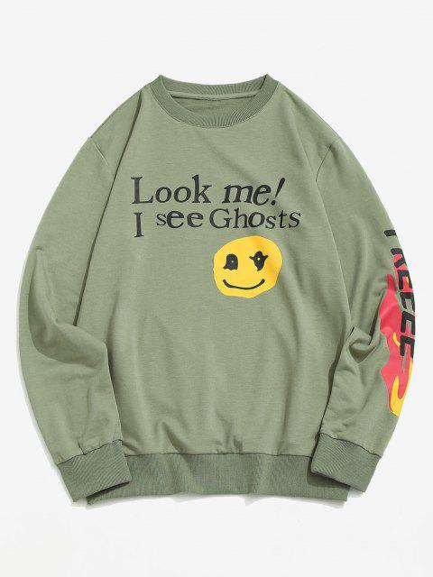 outfit Letter Graphic Print Funny Sweatshirt - LIGHT GREEN S Mobile