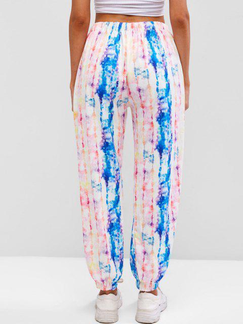 womens Drawstring Colorful Tie Dye Jogger Sweatpants - MULTI L Mobile