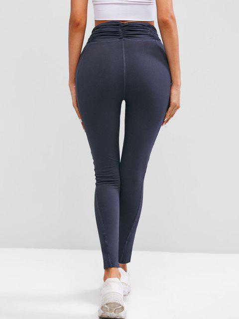 best Ruched Waist Wide Waistband Workout Gym Leggings - DEEP BLUE S Mobile