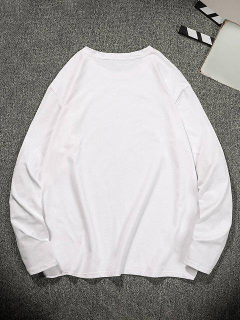 Camisa veluda de mangas compridas com impresso gráfico - Leite Branco L Mobile