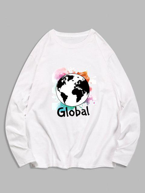 fancy Global Graphic Print Long Sleeve T-shirt - MILK WHITE M Mobile