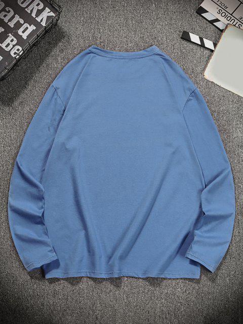 shop Global Graphic Print Long Sleeve T-shirt - SILK BLUE S Mobile