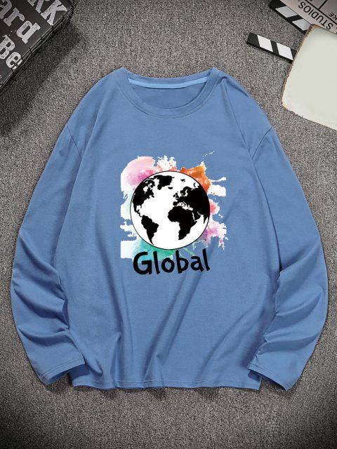 shop Global Graphic Print Long Sleeve T-shirt - SILK BLUE S Mobile