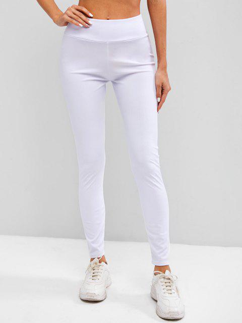 ladies Scrunch Bum Lifted Pocket Wide Waistband Leggings - WHITE S Mobile