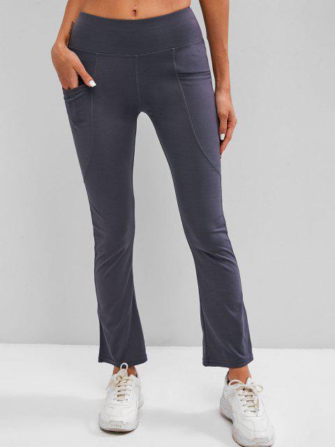lady Wide Waistband Pocket Topstitch Yoga Pants - DARK GRAY XL Mobile
