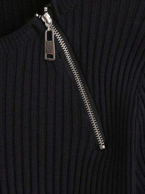 Roupa de Malha de Costela Meio Zipper - Preto Um Tamanho Mobile