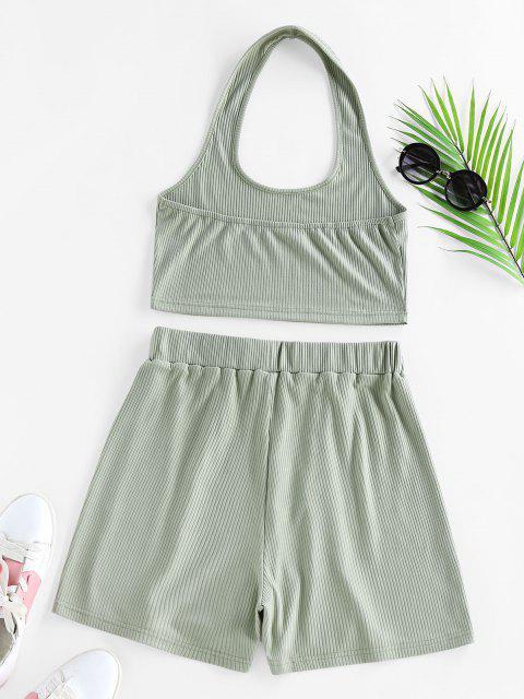 shop ZAFUL Lounge Ribbed Halter High Waisted Shorts Set - LIGHT GREEN L Mobile