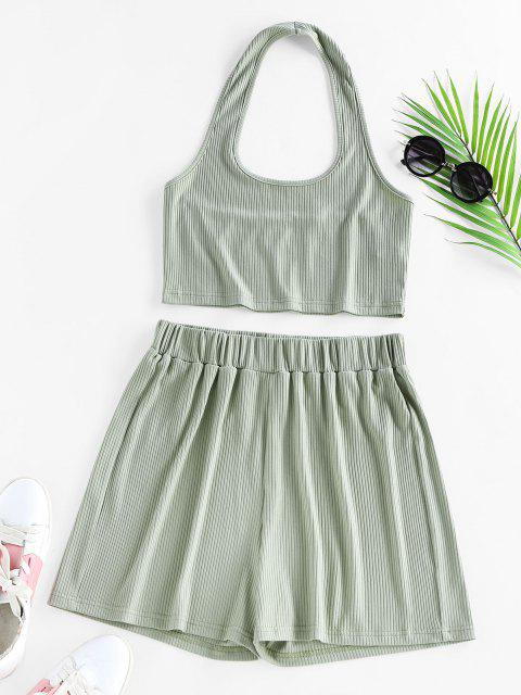 affordable ZAFUL Lounge Ribbed Halter High Waisted Shorts Set - LIGHT GREEN M Mobile