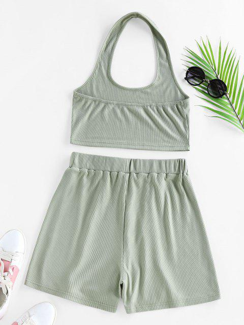 ladies ZAFUL Lounge Ribbed Halter High Waisted Shorts Set - LIGHT GREEN XL Mobile