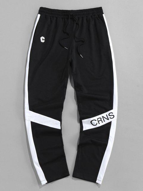 ZAFUL Pantalones Deportivos con Estampado de Letras - Negro M Mobile