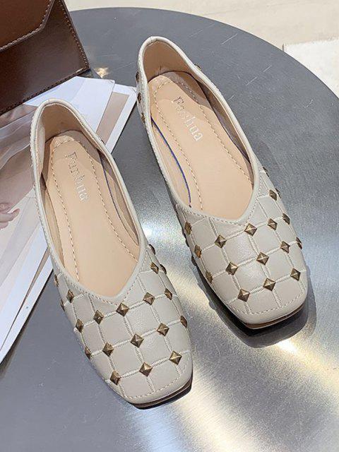buy Rivet Check Pattern Flat Shoes - BEIGE EU 37 Mobile