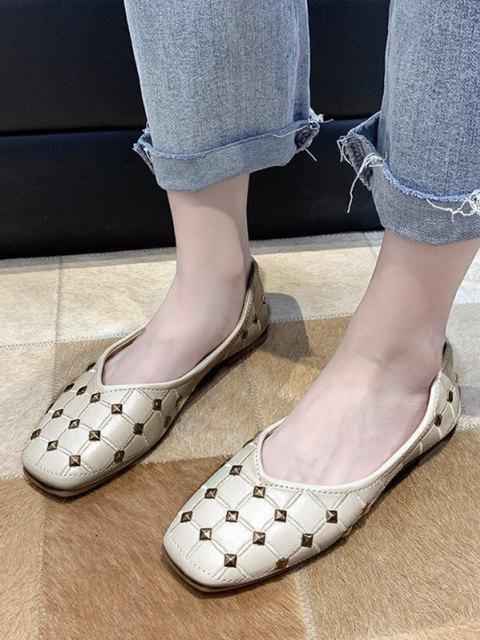 women Rivet Check Pattern Flat Shoes - BEIGE EU 39 Mobile