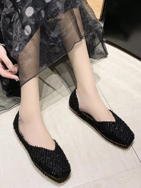 Chaussures Plates Texturée à Bout Carré - Noir EU 37 Mobile