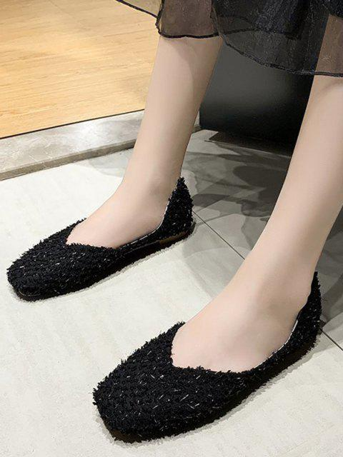 Square Toe Textured Slip On Flat Shoes - أسود الاتحاد الأوروبي 39 Mobile