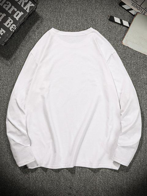 fashion Graphic Animal Print Long Sleeve T-shirt - MILK WHITE M Mobile
