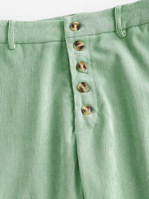 new Corduroy Straight Button Fly Pants - LIGHT GREEN M Mobile