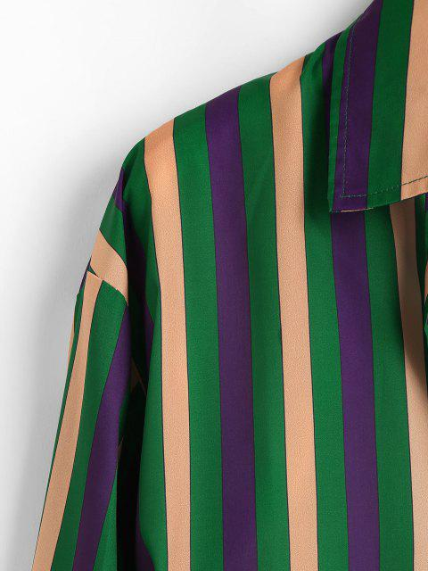 buy Colorblock Stripes Long Sleeve Shirt - CLOVER GREEN M Mobile