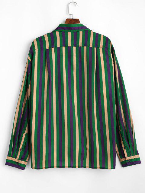Colorblockストライプロングスリーブシャツ - クローバーグリーン 2XL Mobile