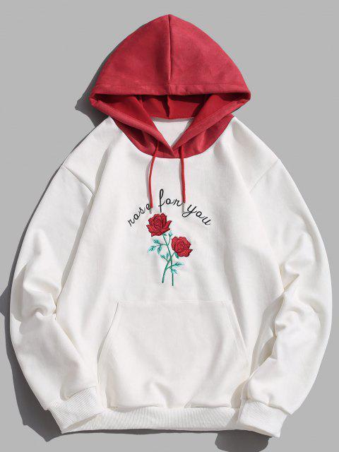 Farbblock Rose Blumen Buchstabe Stickerei Hoodie - Weiß 2XL Mobile