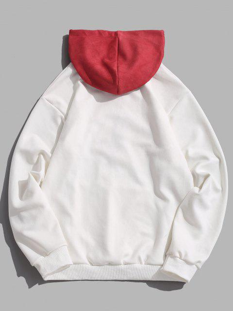 ladies Colorblock Rose Flower Letter Embroidery Hoodie - WHITE 2XL Mobile