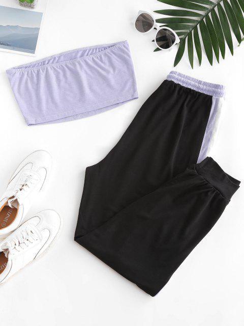 hot Strapless Contrast Drawstring Two Piece Jogger Pants Set - LIGHT PURPLE L Mobile