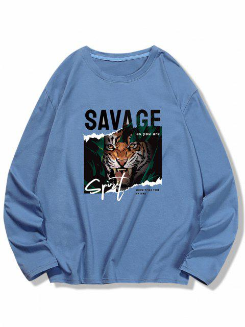 latest Letter Tiger Print Long Sleeve T-shirt - SILK BLUE S Mobile
